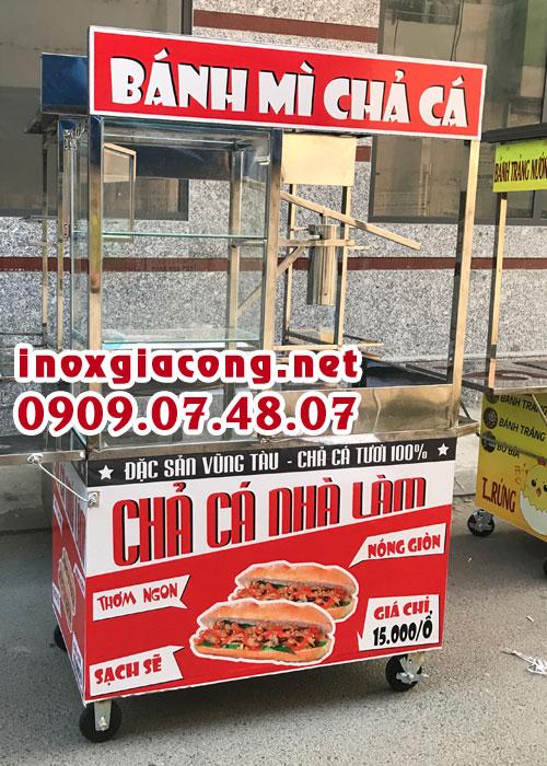 Xe bánh mì chả cá nóng giá rẻ. Xe chả cá inox chất lượng cao. Cung cấp xe bán bánh mì chả cá tại tphcm
