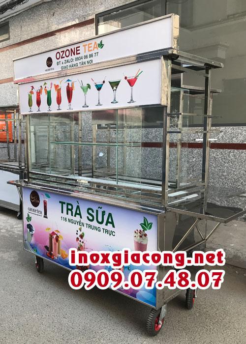 Xe trà sữa đẹp giá rẻ. Địa chỉ cung cấp tủ bán trà sữa - tủ sinh tốt nước ép inox chất lượng