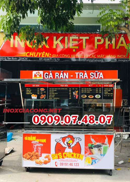 Mẫu xe bán gà rán trà sữa 1M8 | Inox Kiệt Phát