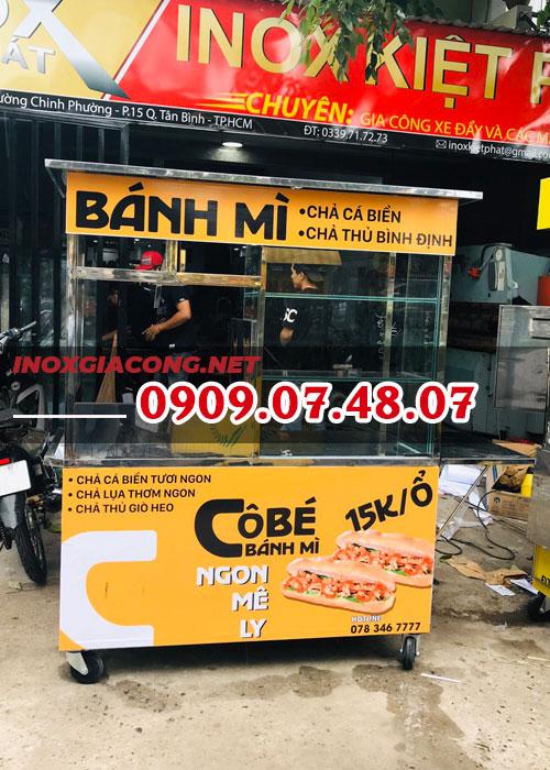 Mua xe bán bánh mì chả cá nóng 1M4 | Inox Kiệt Phát