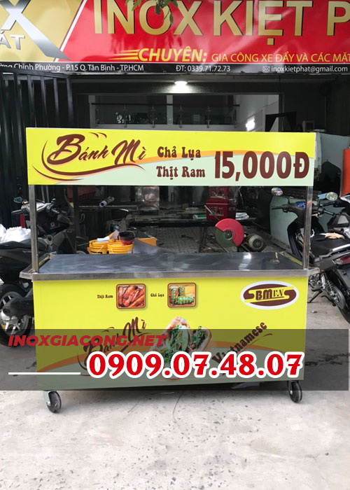 Mua xe bán bánh mì chả lụa 1M6 | Inox Kiệt Phát