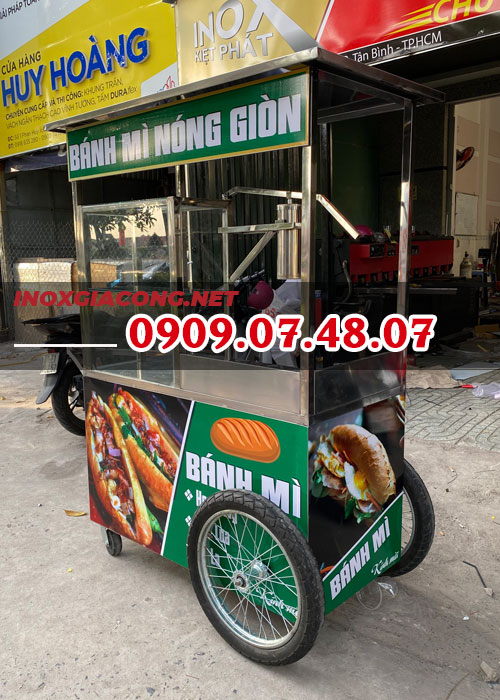 Xe bán bánh mì chả cá giá rẻ 1M2 | Inox Kiệt Phát