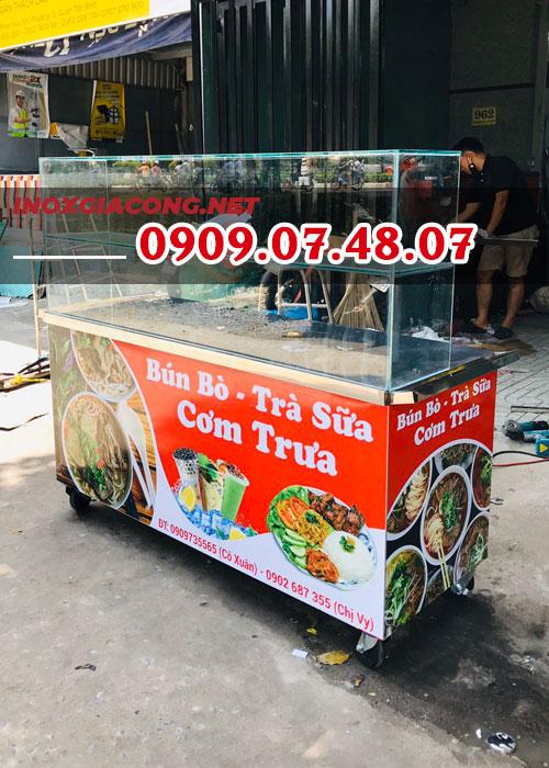 Tủ kính bán cơm đẹp 1M6 | Inox Kiệt Phát