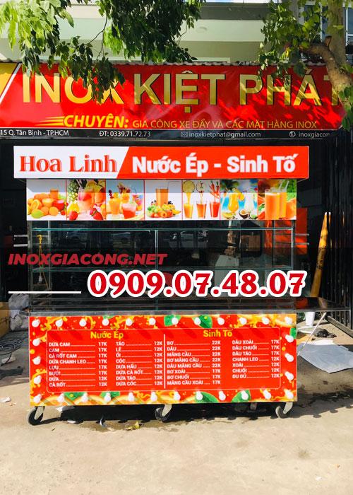 Trang trí xe bán nước ép sinh tố 2M | Inox Kiệt Phát