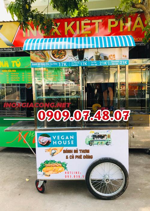 Mua xe đẩy bán bánh mì cà phê lưu động 1M2 | Inox Kiệt Phát
