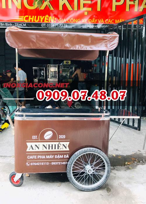 Xe đẩy bán cà phê pha máy 1M2 | Inox Kiệt Phát