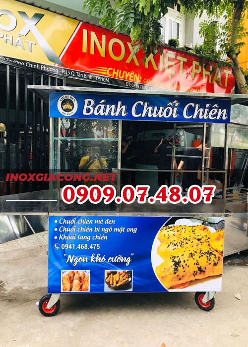 Xe bán bánh chuối lưu động 1M6 | Inox Kiệt Phát