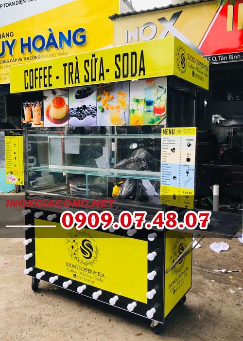 Xe bán trà sữa cà phê trọn bộ 1M4 | Inox Kiệt Phát