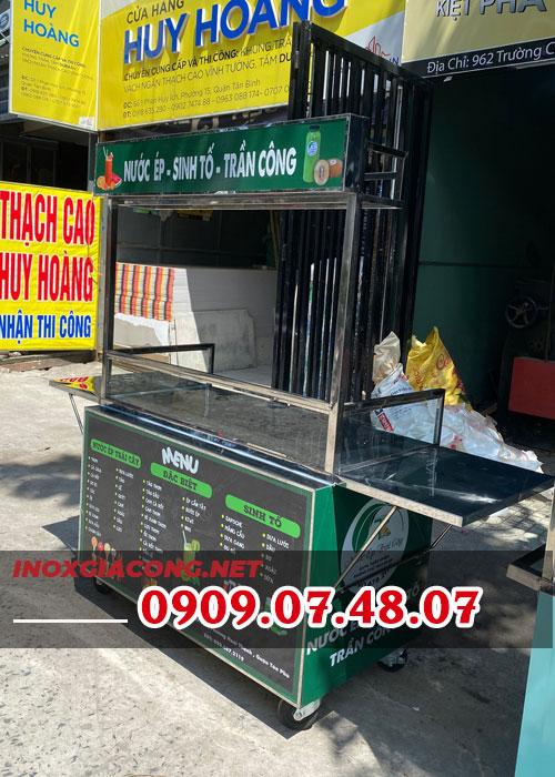 Mua xe bán nước ép sinh tố inox 1M2 | Miễn phí decal trang trí