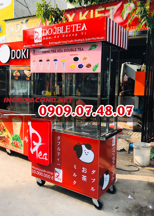 Mua xe trà sữa inox đẹp 1M2 | Inox Kiệt Phát