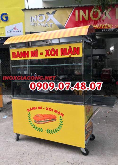 Xe bán bánh mì xôi mặn 1M4 | Inox Kiệt Phát