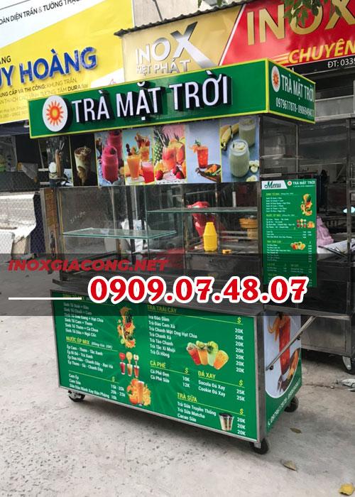 Xe bán trà sữa uy tín giá rẻ 1M4 | Inox Kiệt Phát