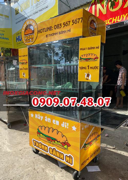 Xe bán bánh mì inox 1M | Inox Kiệt Phát