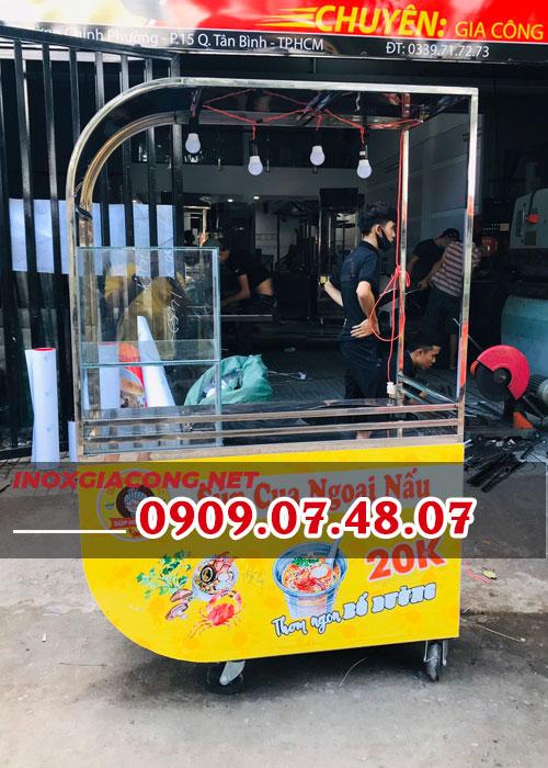 Xe bán súp cua inox 1M2 | Inox Kiệt Phát