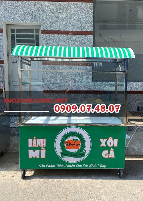 Mua xe bán bánh mì xôi gà | Liên hệ inox Kiệt Phát 0909.07.48.07