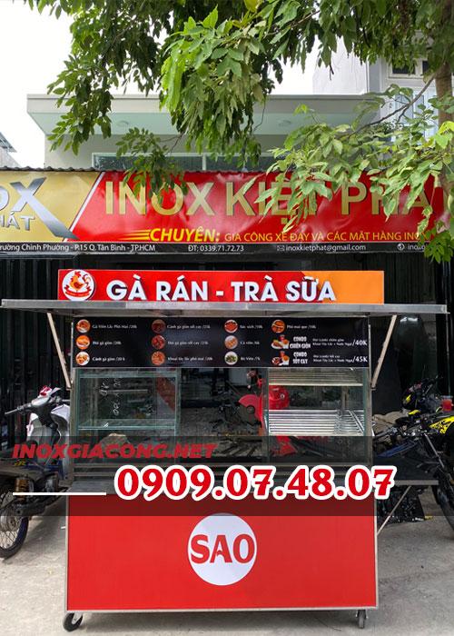 Xe đẩy bán gà rán 1M6 | Inox Kiệt Phát