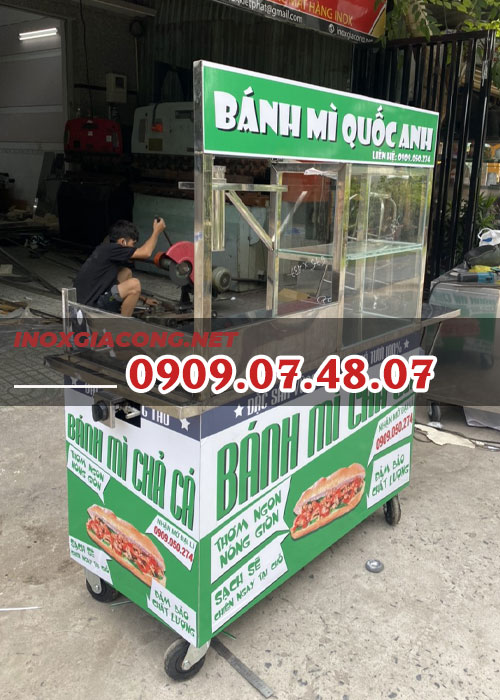 Xe bánh mì chả cá 1m2 | Inox Kiệt Phát