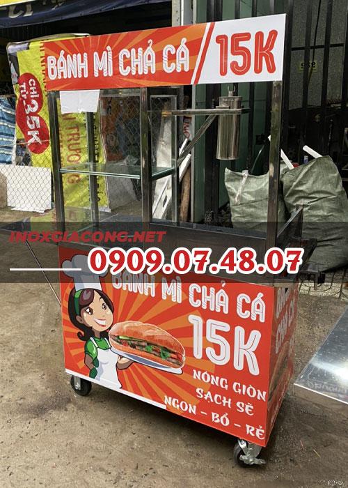 Xe bánh mì chả cá inox 1m | Inox Kiệt Phát