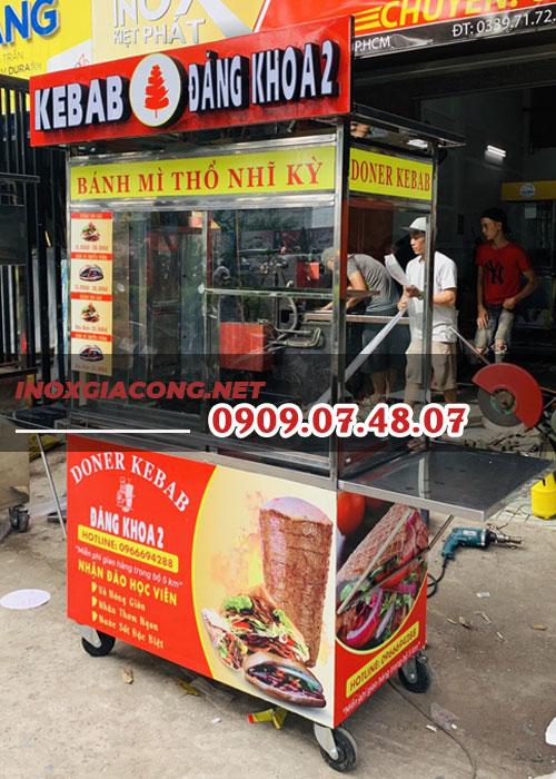 Giá xe bánh mì kebab 1m2 | Inox Kiệt Phát