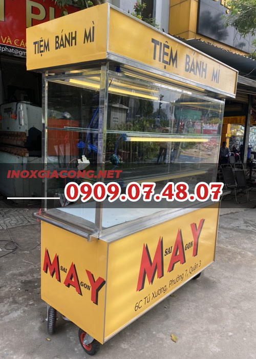 Xe bánh mì Sài Gòn 1m6 | Inox Kiệt Phát