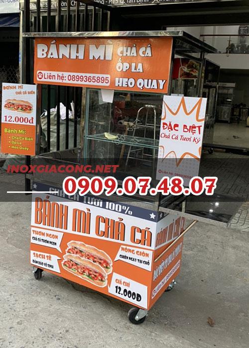 Xe bánh mì chả cá 1m | Inox Kiệt Phát