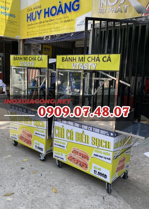 Xe bán bánh mì chả cá 1m | Inox Kiệt Phát