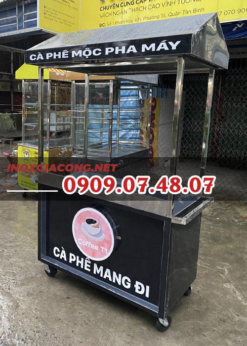 Xe cà phê pha máy 1m2 | Inox Kiệt Phát