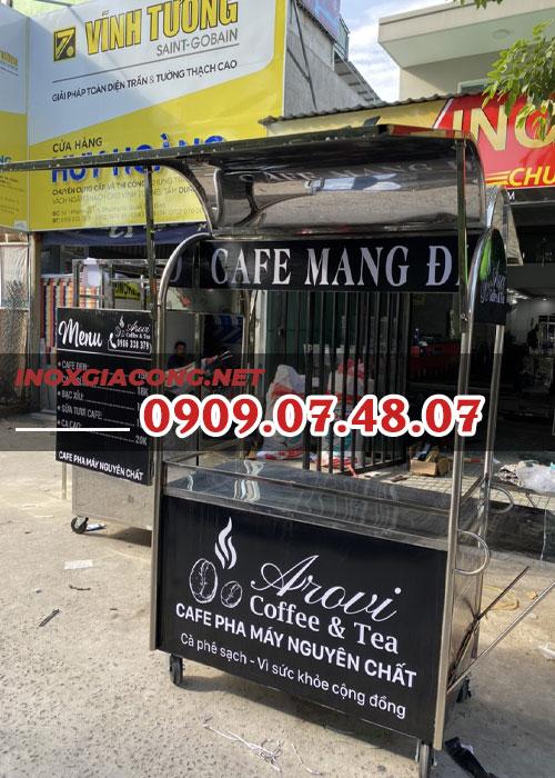 Xe cà phê mang đi inox 1m2 | Inox Kiệt Phát