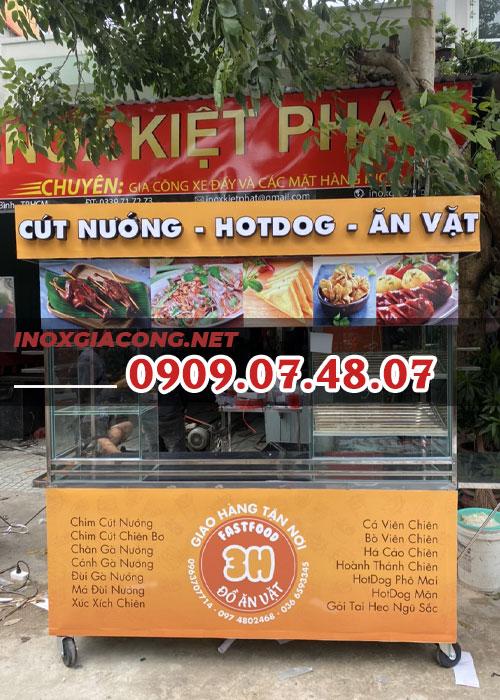Xe ăn vặt 1m6 | Inox Kiệt Phát