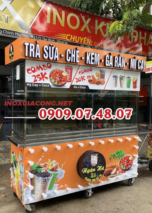 Xe trà sữa gà rán 1M8 | Inox Kiệt Phát