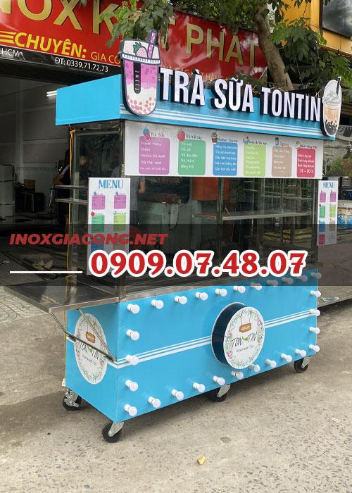 Xe trà sữa trang trí đèn 1m6 | Inox Kiệt Phát