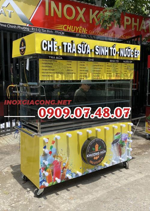 Tủ xe bán trà sữa 1m6 | Inox Kiệt Phát