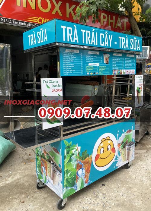 Xe trà sữa ăn vặt 1m4 | Inox Kiệt Phát